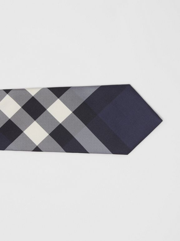 Classic Cut Check Silk Tie in Navy - Men | Burberry United Kingdom - cell image 1