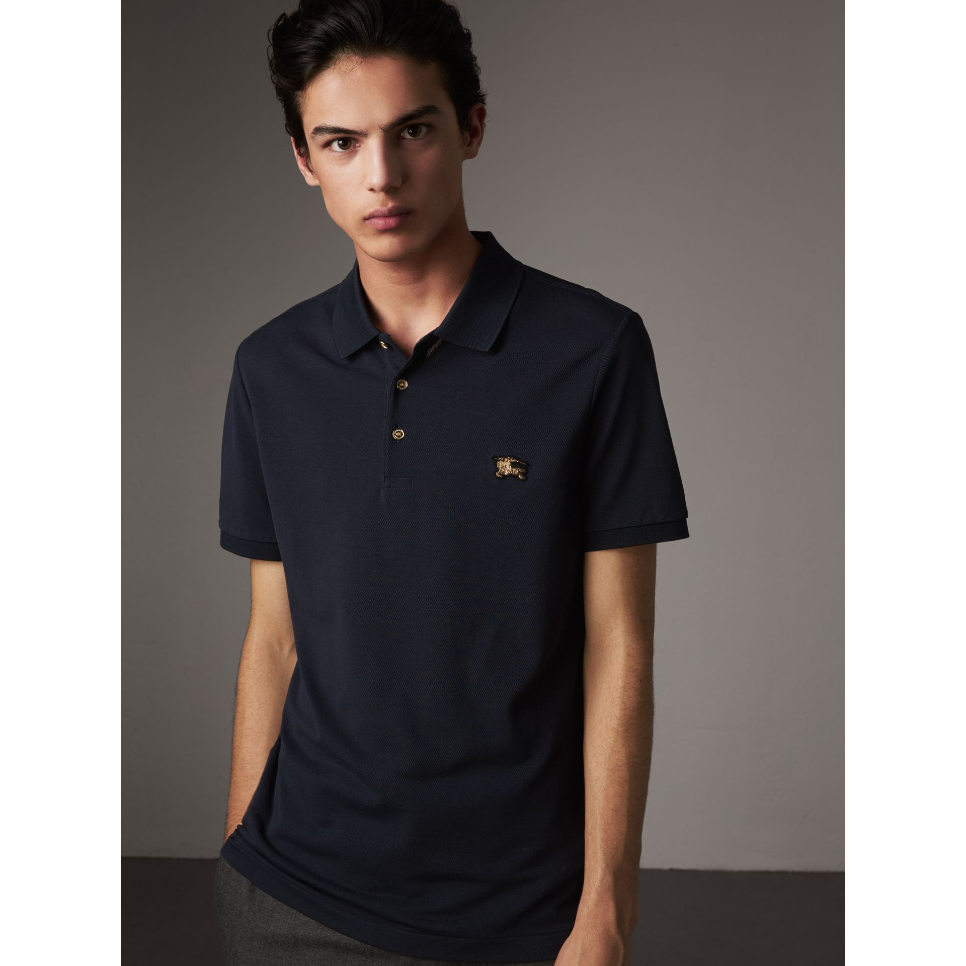 Cotton Piqué Polo Shirt in Navy - Men | Burberry Canada - gallery image 1