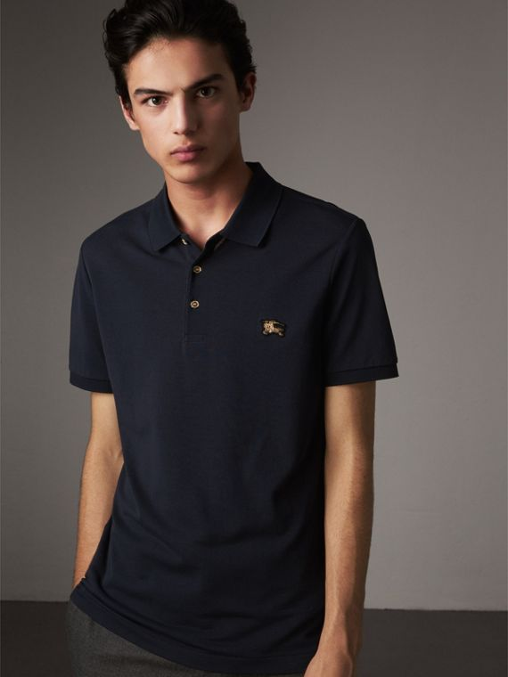 Cotton Piqué Polo Shirt in Navy - Men | Burberry Australia