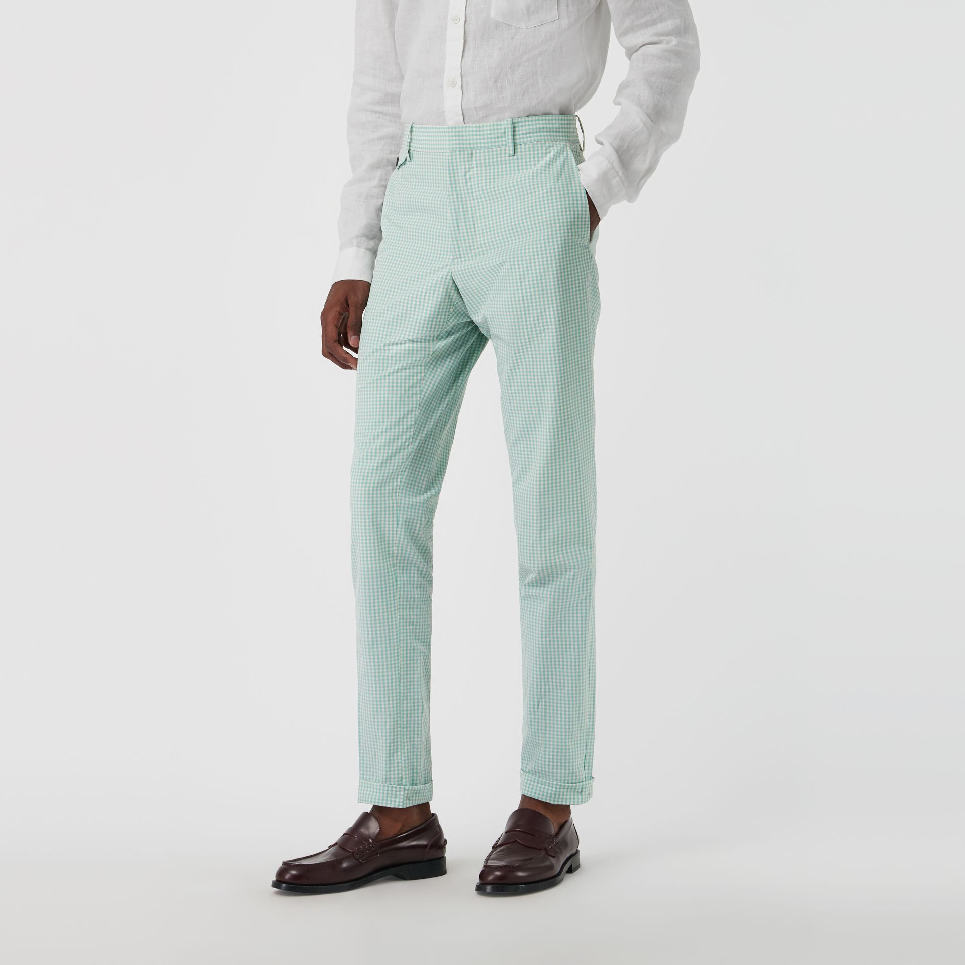 Gingham Cotton Tailored Trousers in Pale Opal - Men | Burberry Canada - gallery image 6