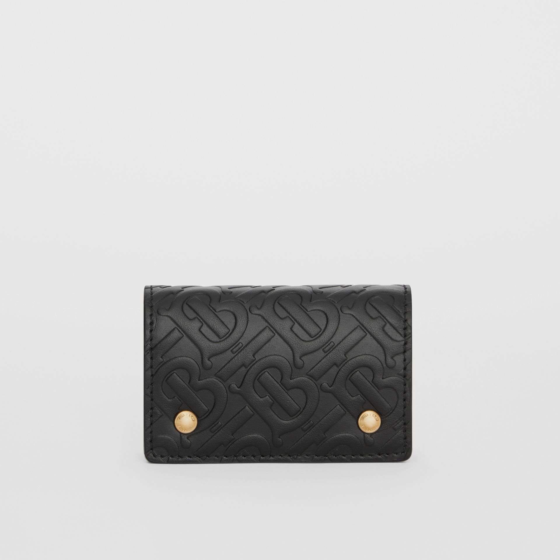 Monogram Leather Card Case in Black | Burberry - gallery image 0