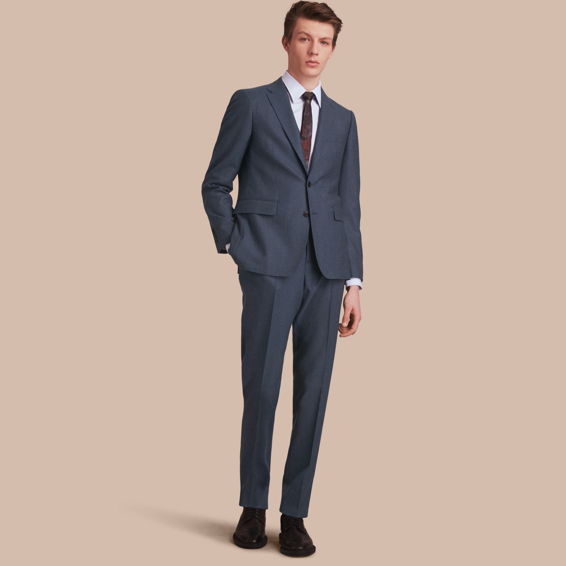 Soho Fit Wool Flannel Suit in Petrol Blue Melange - Men | Burberry - gallery image 1