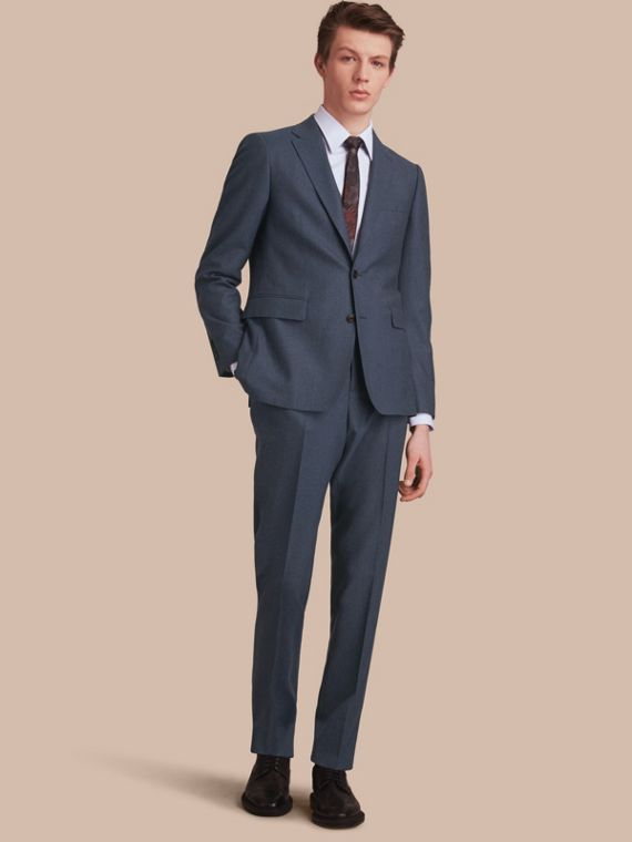 Soho Fit Wool Flannel Suit in Petrol Blue Melange - Men | Burberry