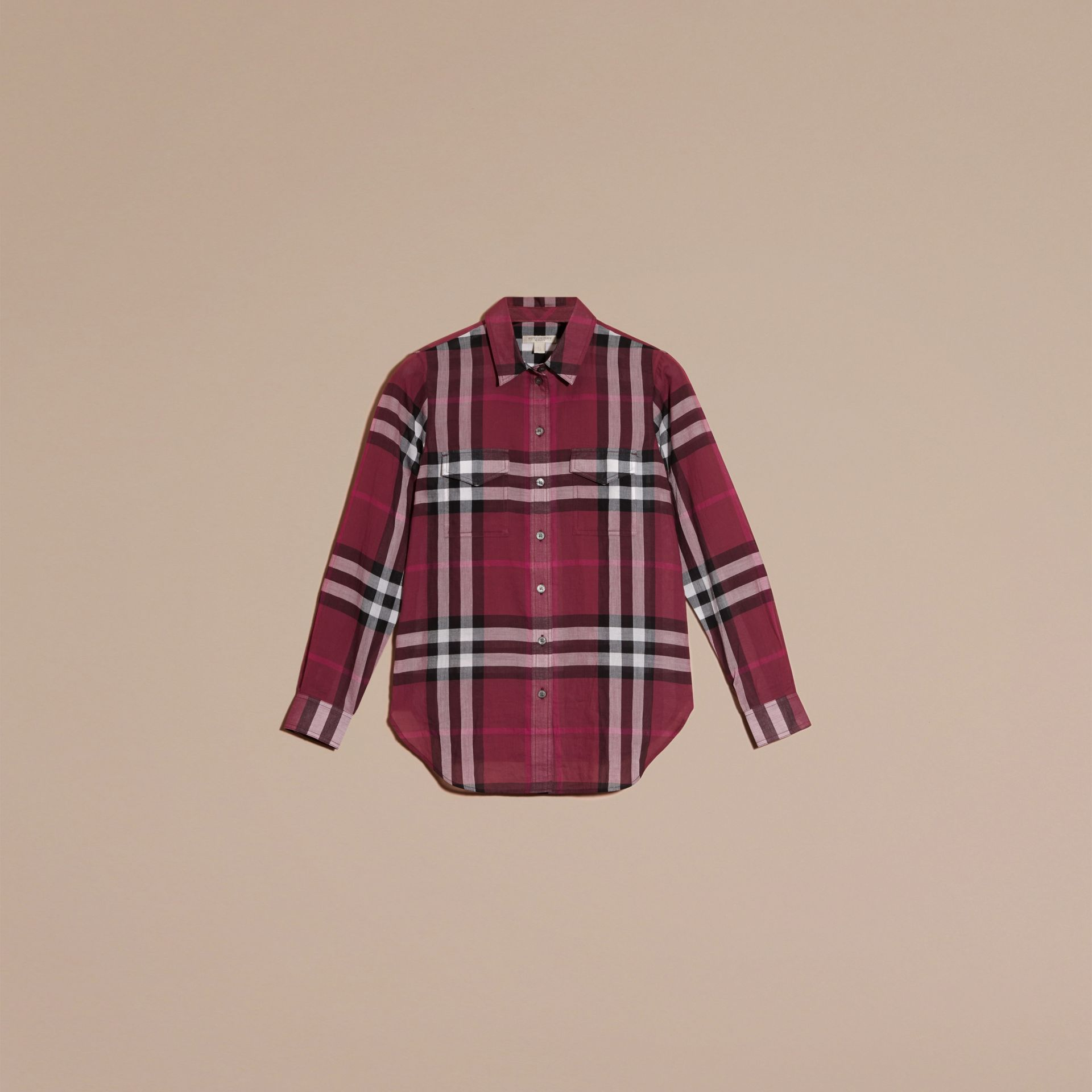 Magenta Check Cotton Shirt Magenta - gallery image 4