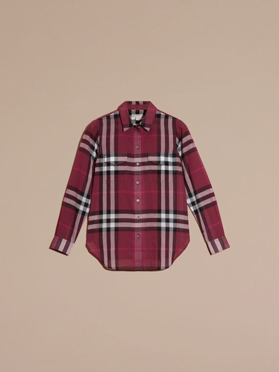 Magenta Check Cotton Shirt Magenta - cell image 3