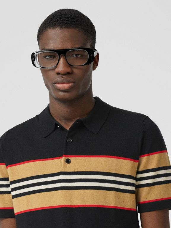 Icon Stripe Detail Merino Wool Polo Shirt in Black - Men | Burberry - cell image 1