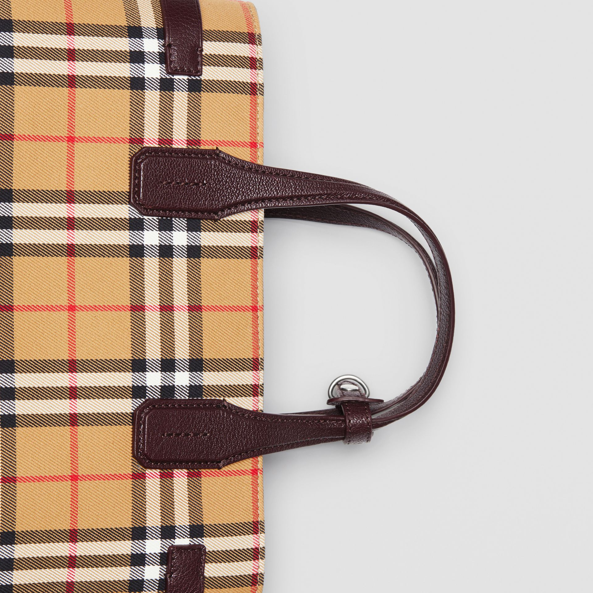 The Medium Banner in Vintage Check and Leather in Deep Claret - Women | Burberry United Kingdom - gallery image 1