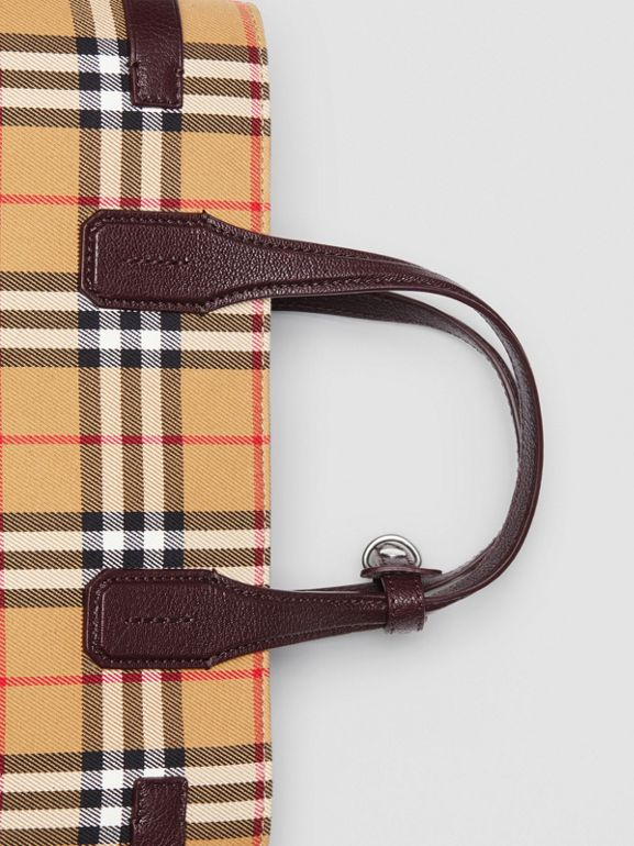 The Medium Banner in Vintage Check and Leather in Deep Claret - Women | Burberry United States - cell image 1