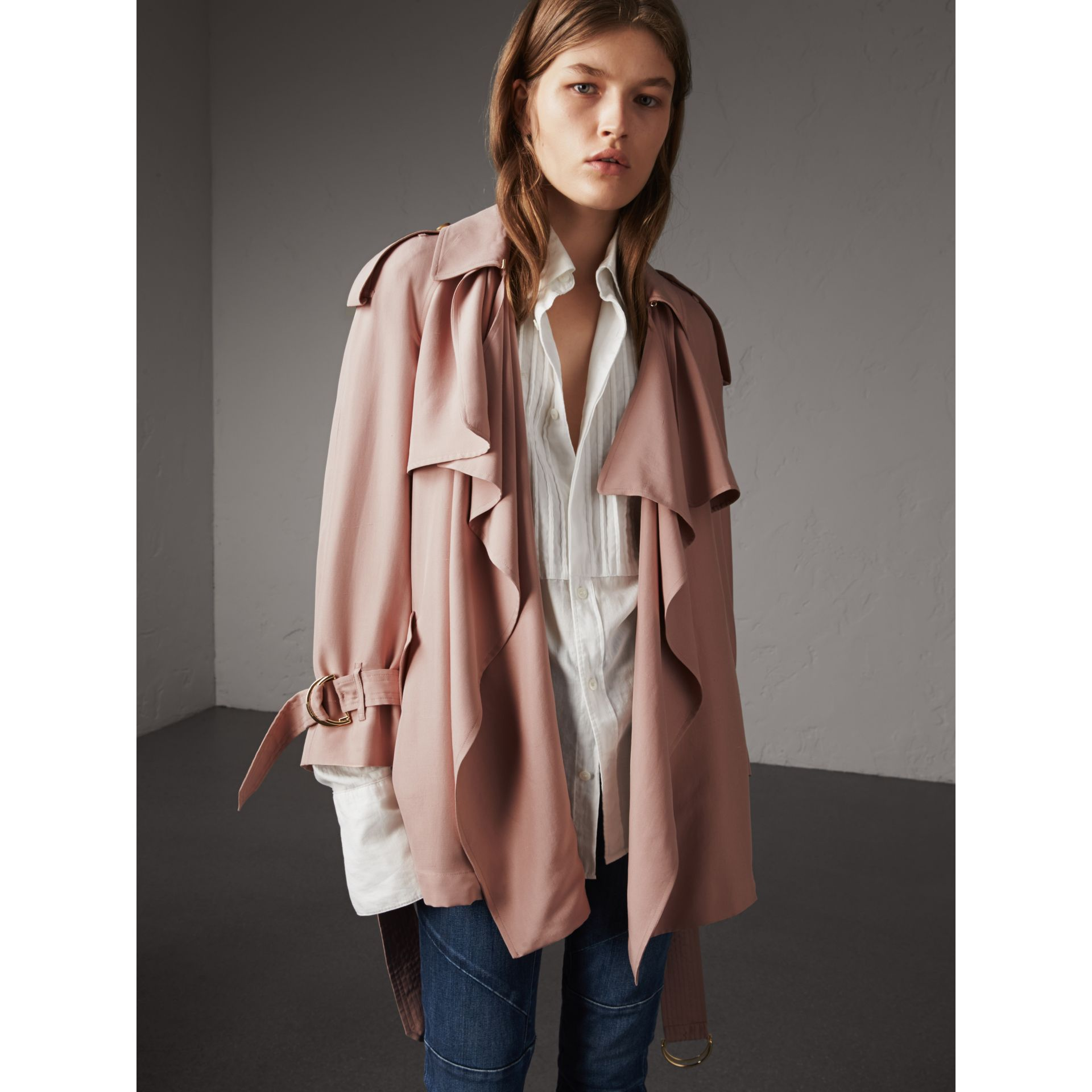 Silk Wrap Trench Coat in Ash Rose - gallery image 1