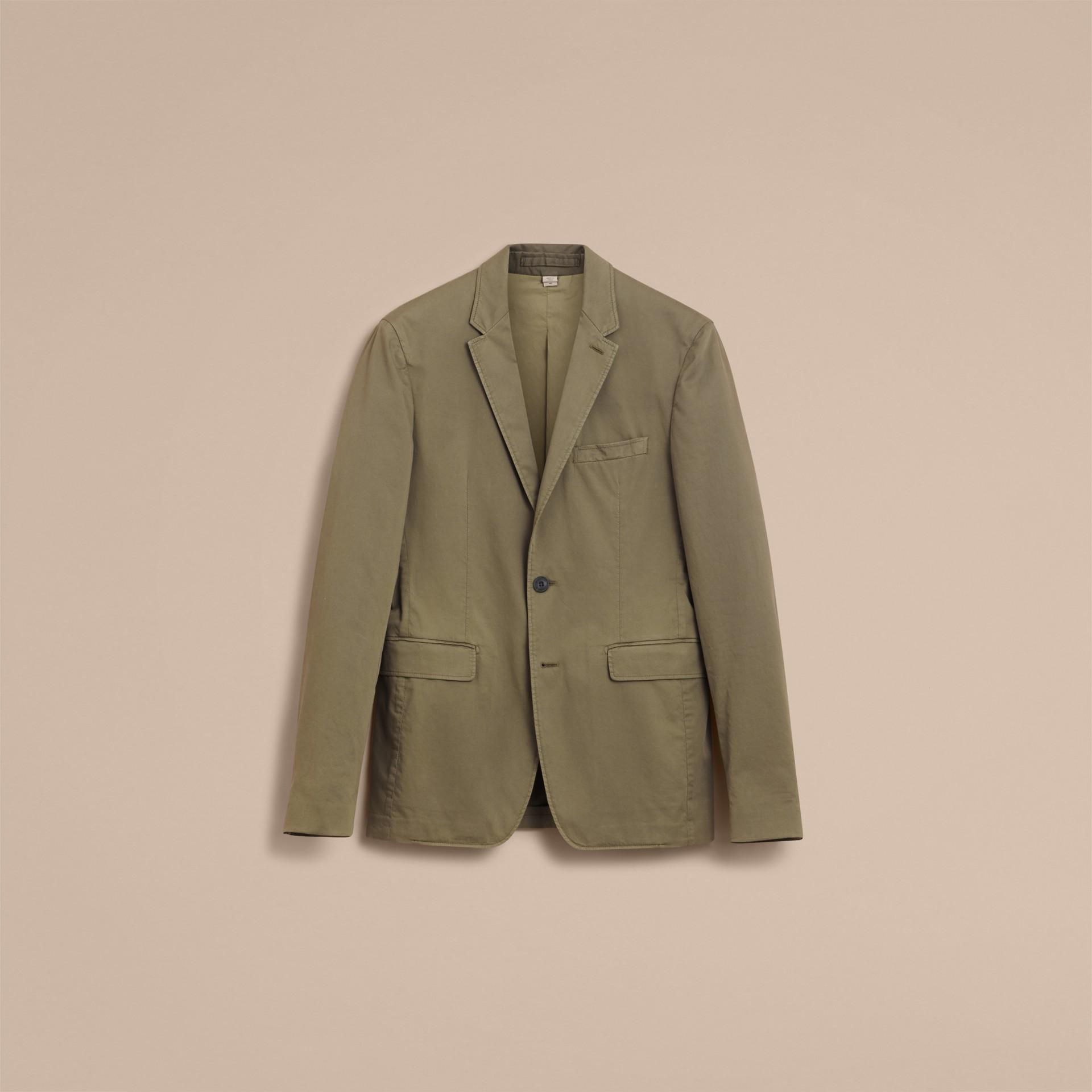 Slim Fit Stretch-cotton Blazer Khaki Green - gallery image 4