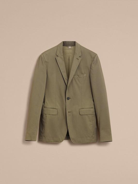 Slim Fit Stretch-cotton Blazer Khaki Green - cell image 3