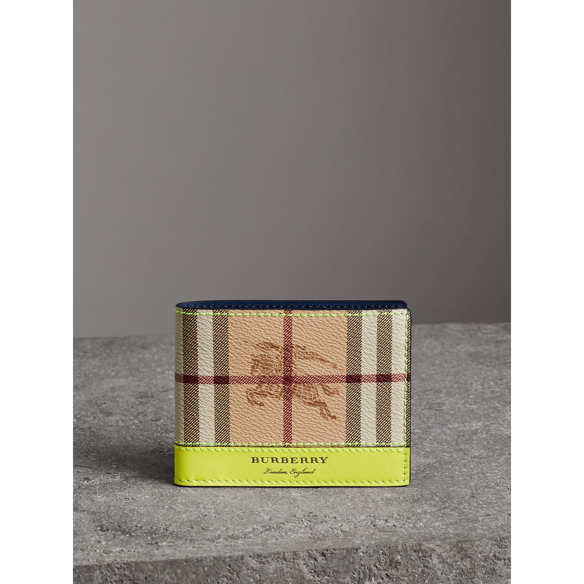 Haymarket Check and Leather Bifold Wallet in Bright Yellow | Burberry United States - gallery image 4
