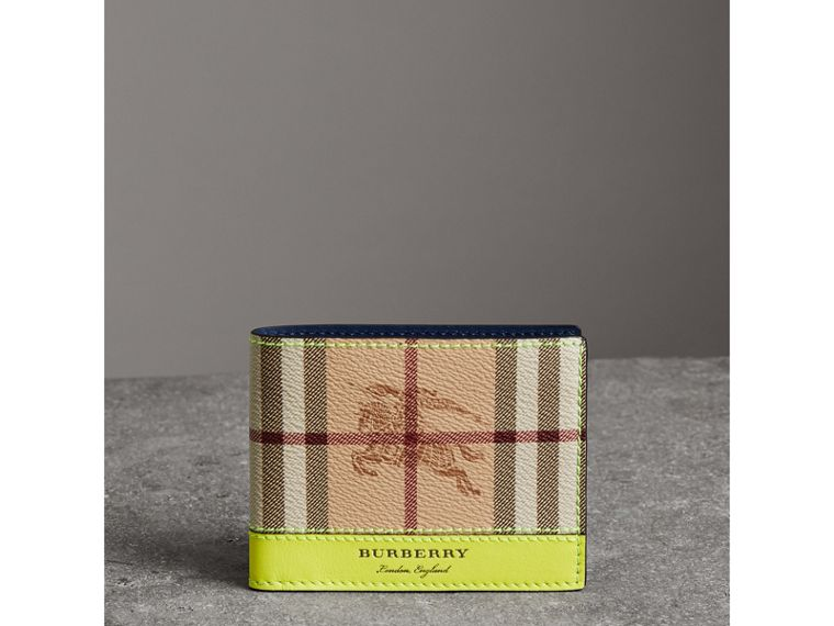Haymarket Check and Leather Bifold Wallet in Bright Yellow | Burberry United States - cell image 4