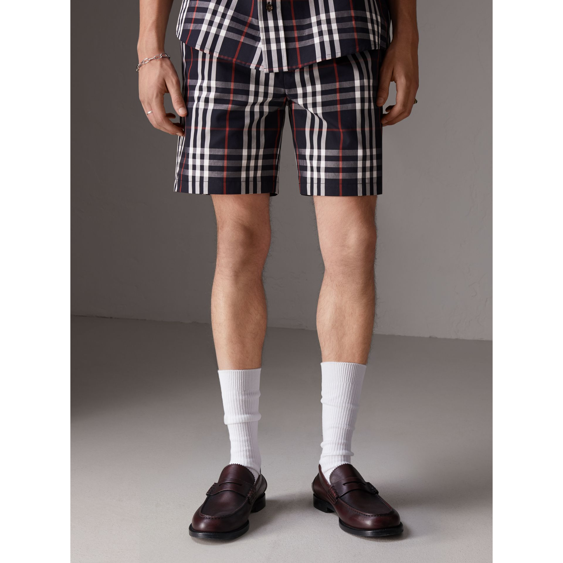 Gosha x Burberry Tailored Shorts in Navy | Burberry - gallery image 5