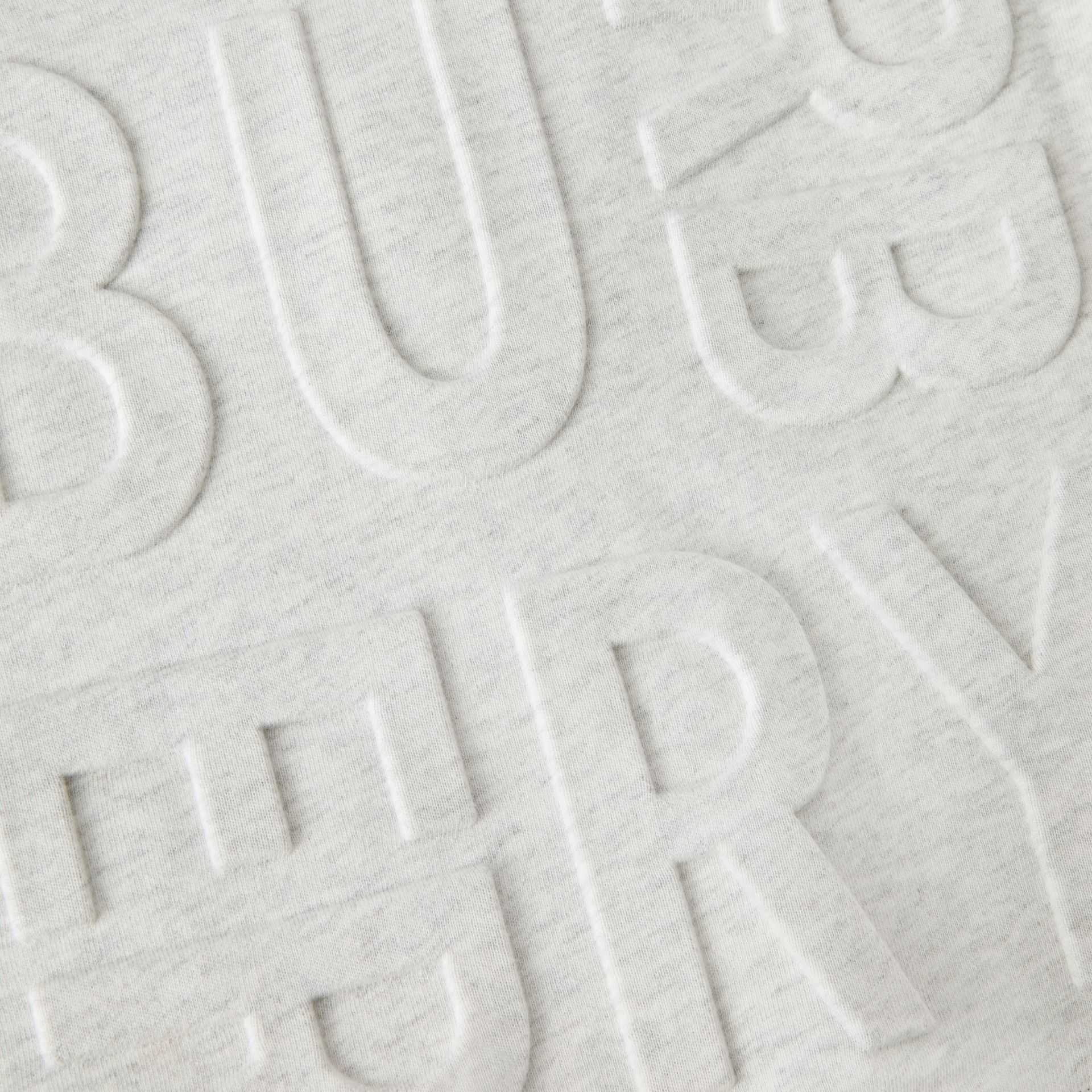 Embossed Logo Cotton Sweatshirt in White Melange | Burberry - gallery image 1