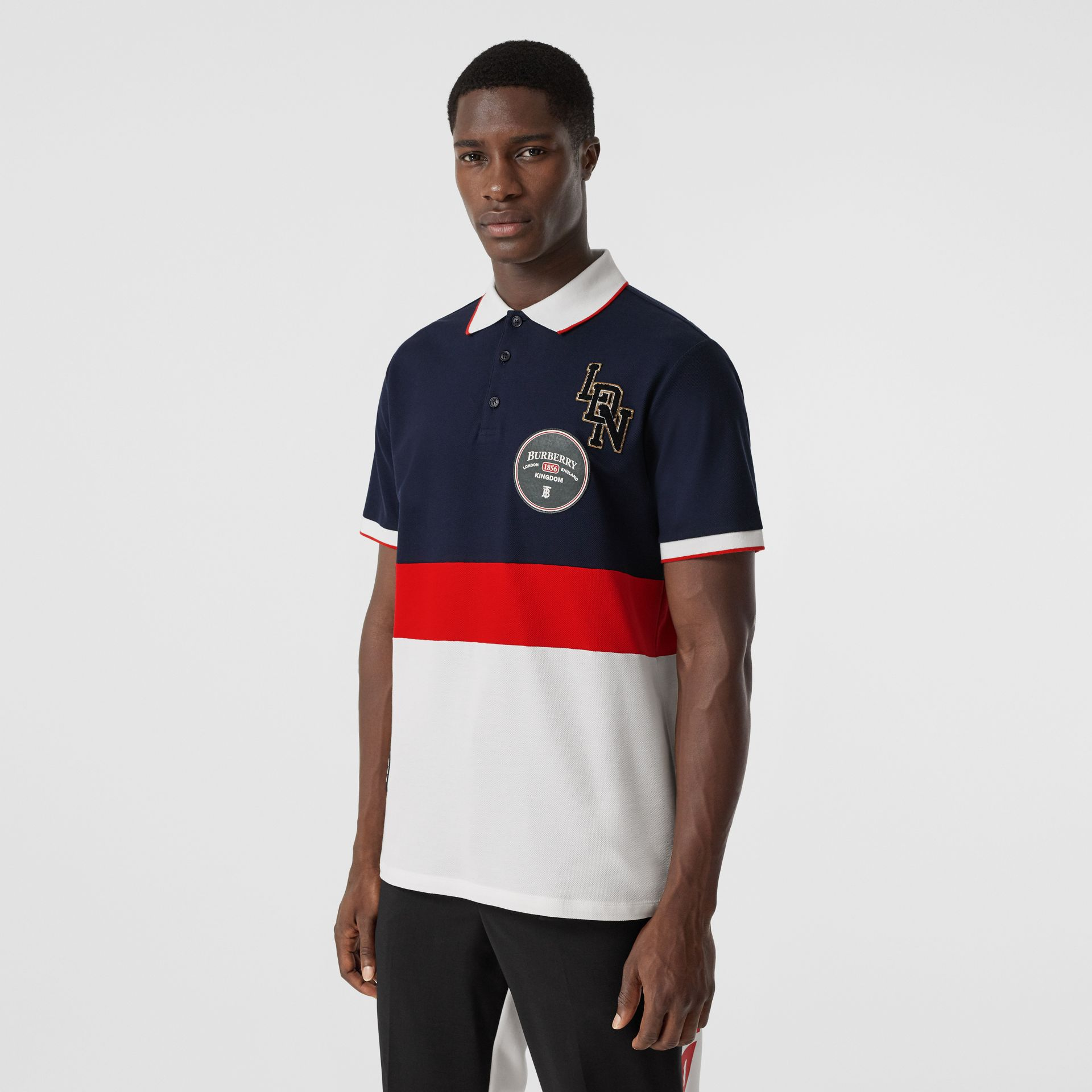 Logo Graphic Cotton Piqué Polo Shirt in Navy - Men | Burberry - gallery image 5