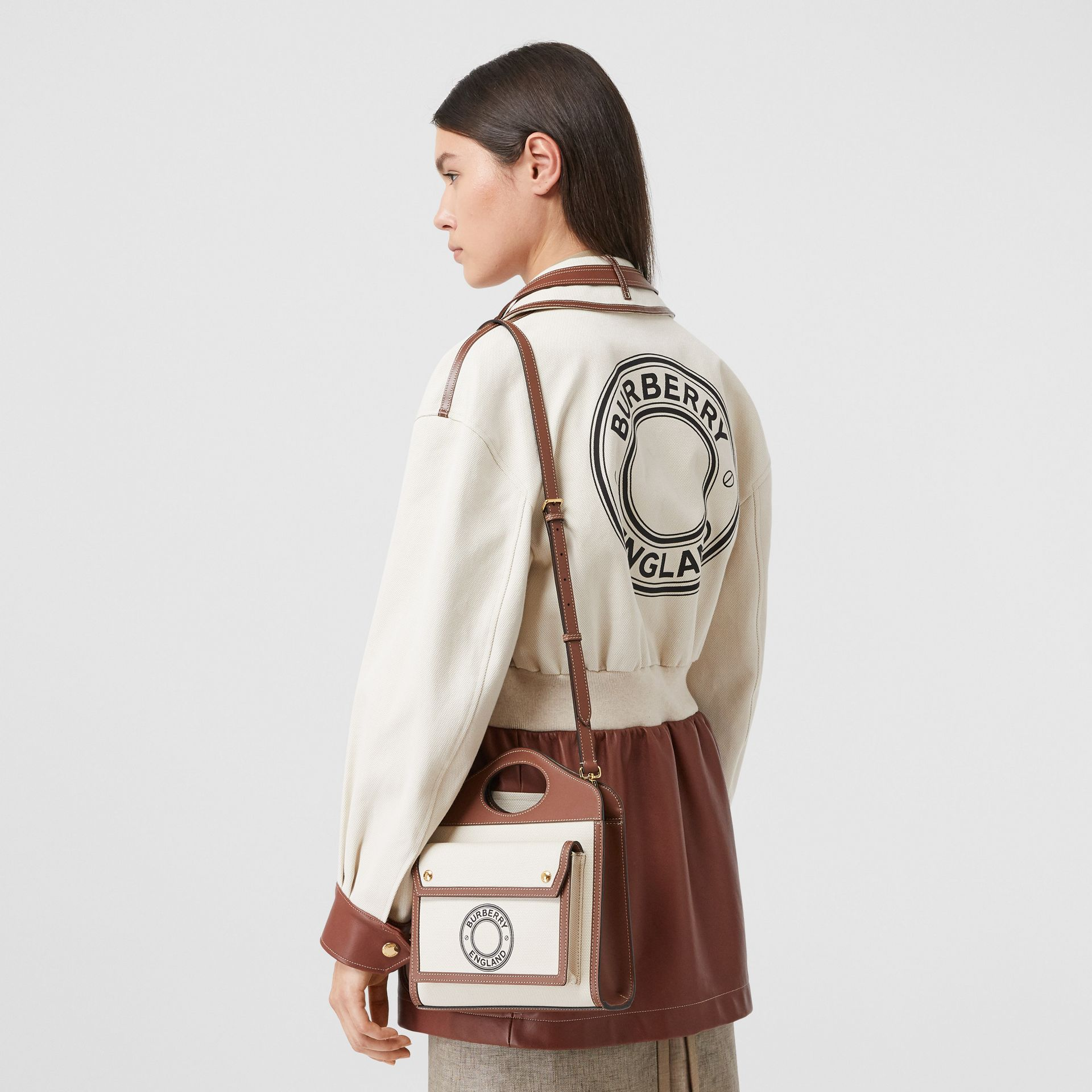 Mini Logo Graphic Canvas and Leather Pocket Bag in Tan - Women | Burberry Australia - gallery image 8