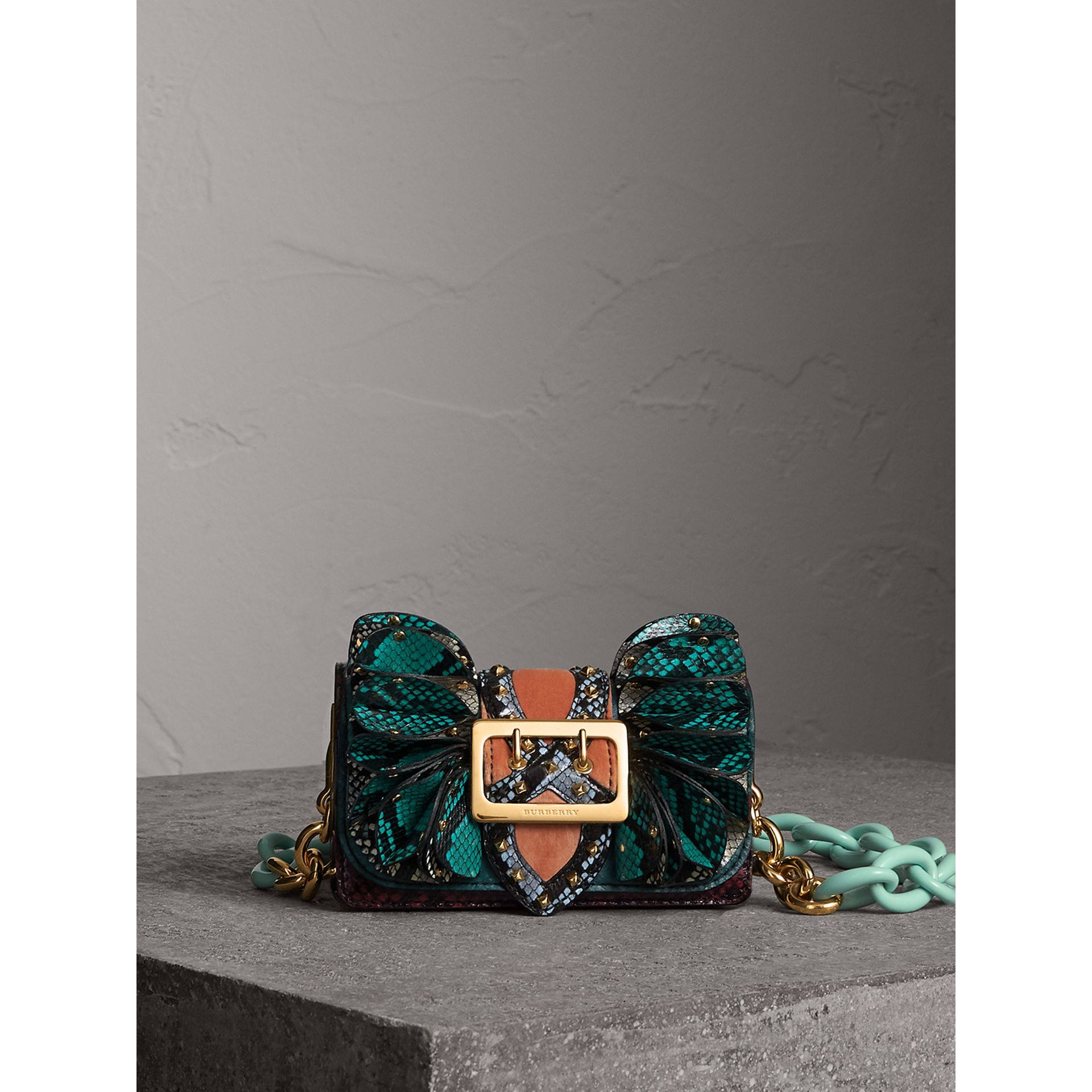 The Ruffle Buckle Bag in Snakeskin and Velvet in Teal - Women | Burberry - gallery image 1
