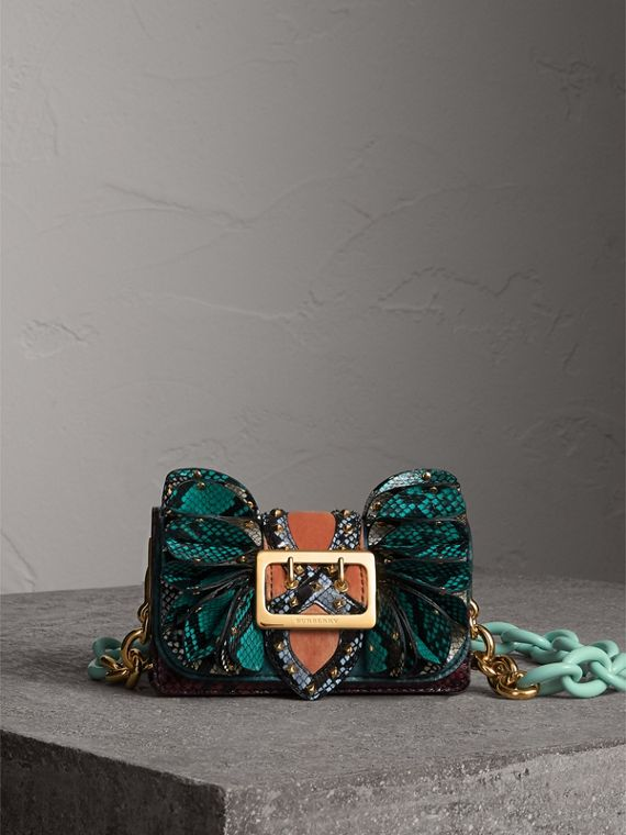 The Ruffle Buckle Bag in Snakeskin and Velvet in Teal