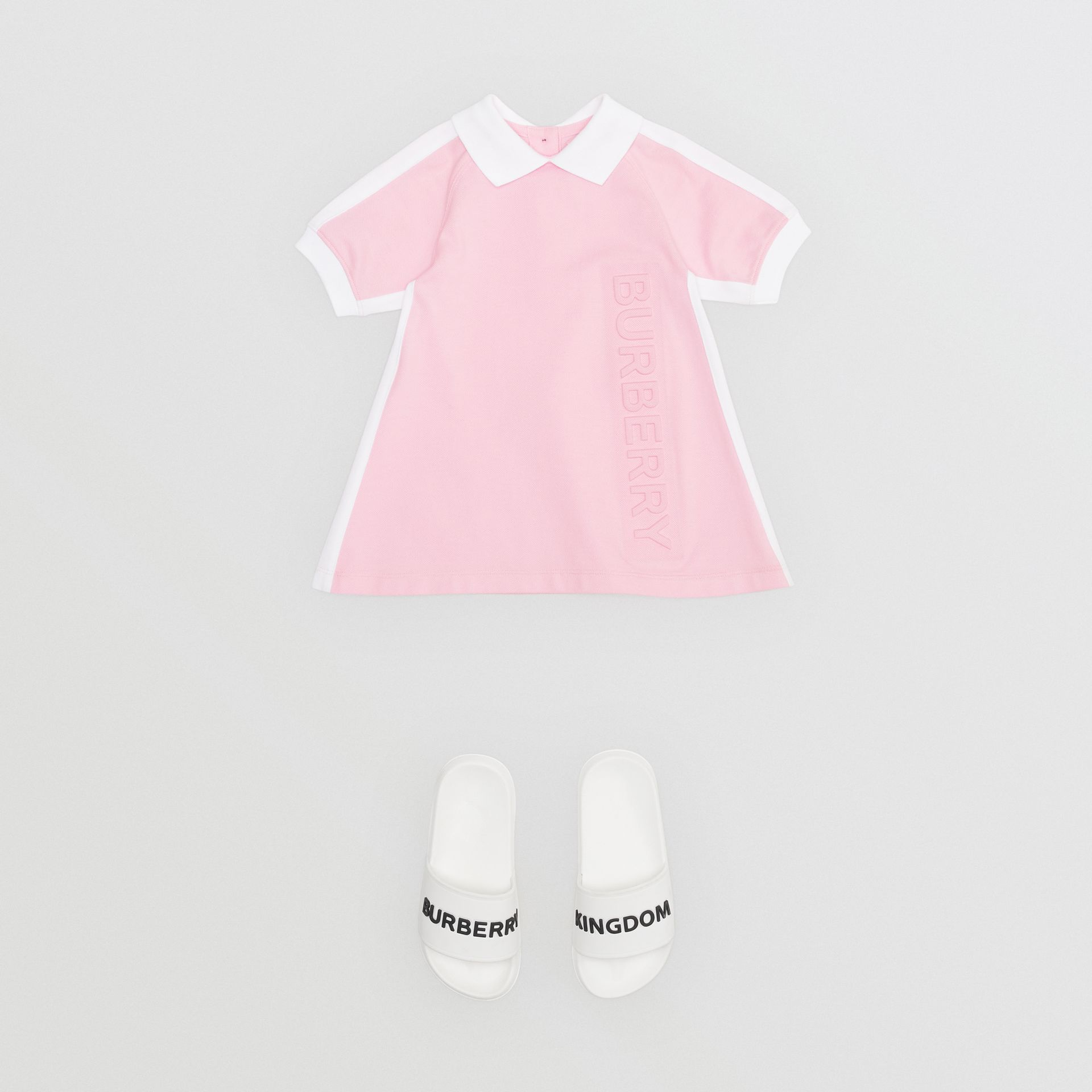 Embossed Logo Cotton Polo Dress in Pale Neon Pink - Children | Burberry - gallery image 2