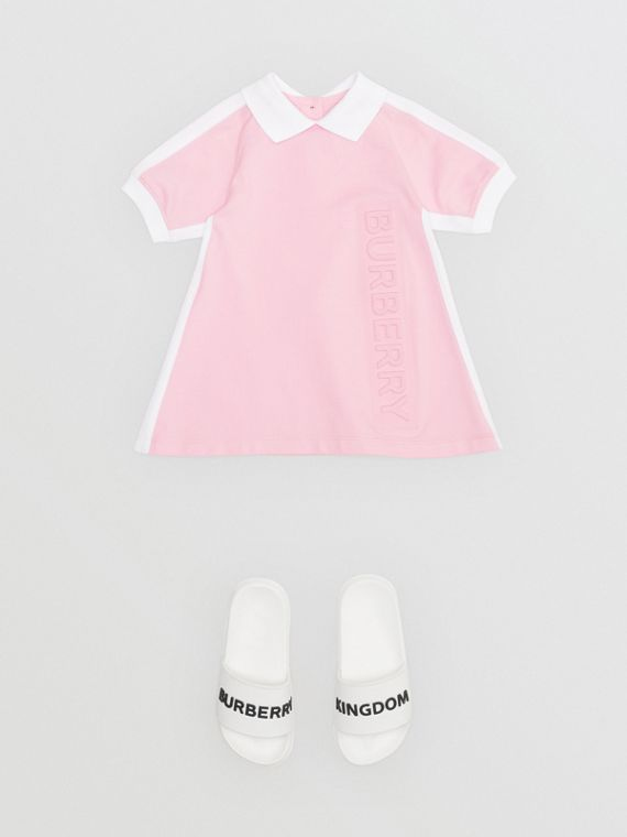 Embossed Logo Cotton Polo Dress in Pale Neon Pink
