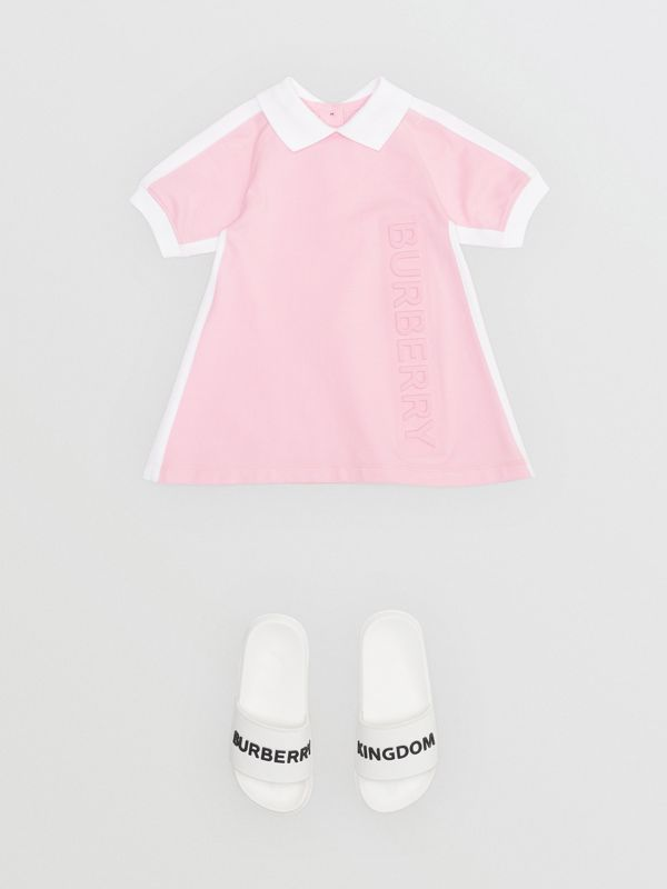 Embossed Logo Cotton Polo Dress in Pale Neon Pink - Children | Burberry - cell image 2