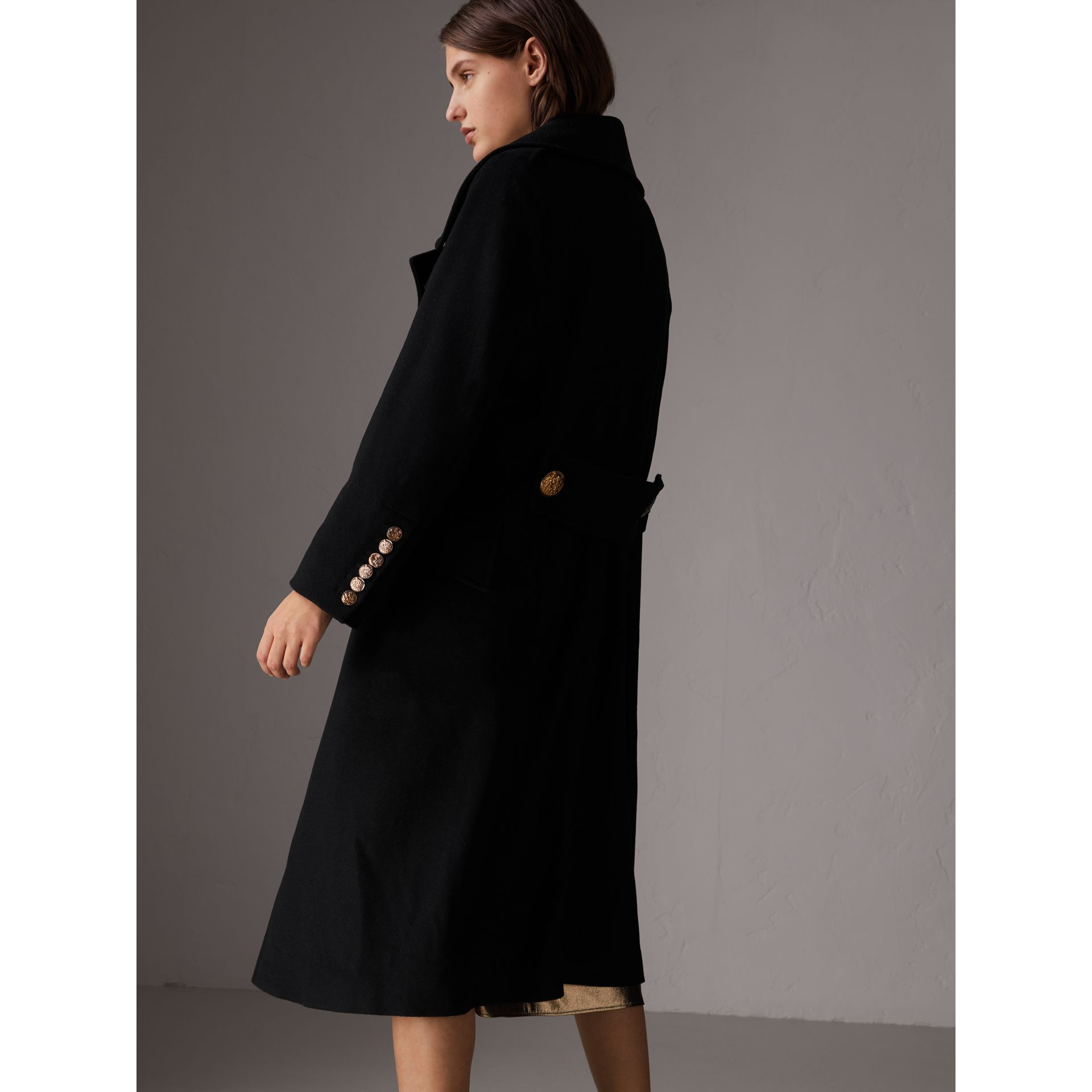 Bird Button Wool Blend Military Coat in Black - Women | Burberry - gallery image 2