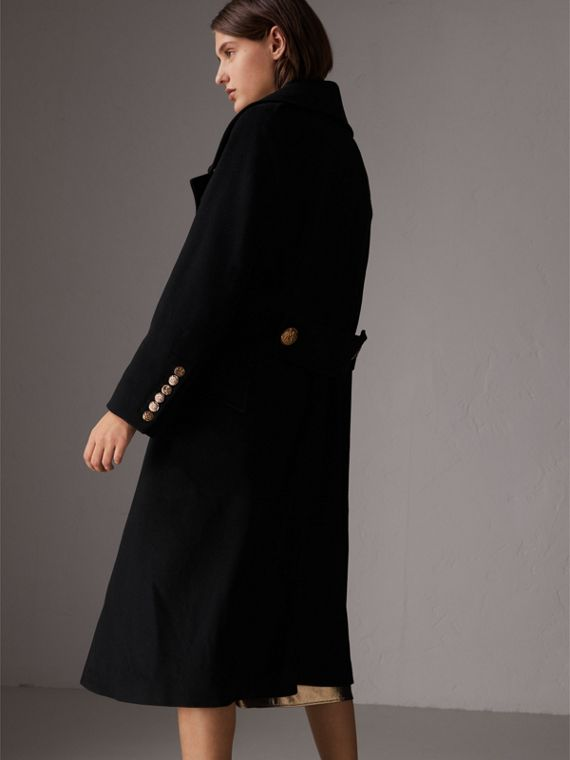 Bird Button Wool Blend Military Coat in Black - Women | Burberry - cell image 2