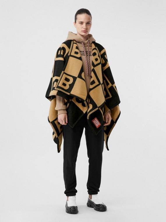 Mantella in lana Merino e cashmere con motivo B (Beige Archivio)