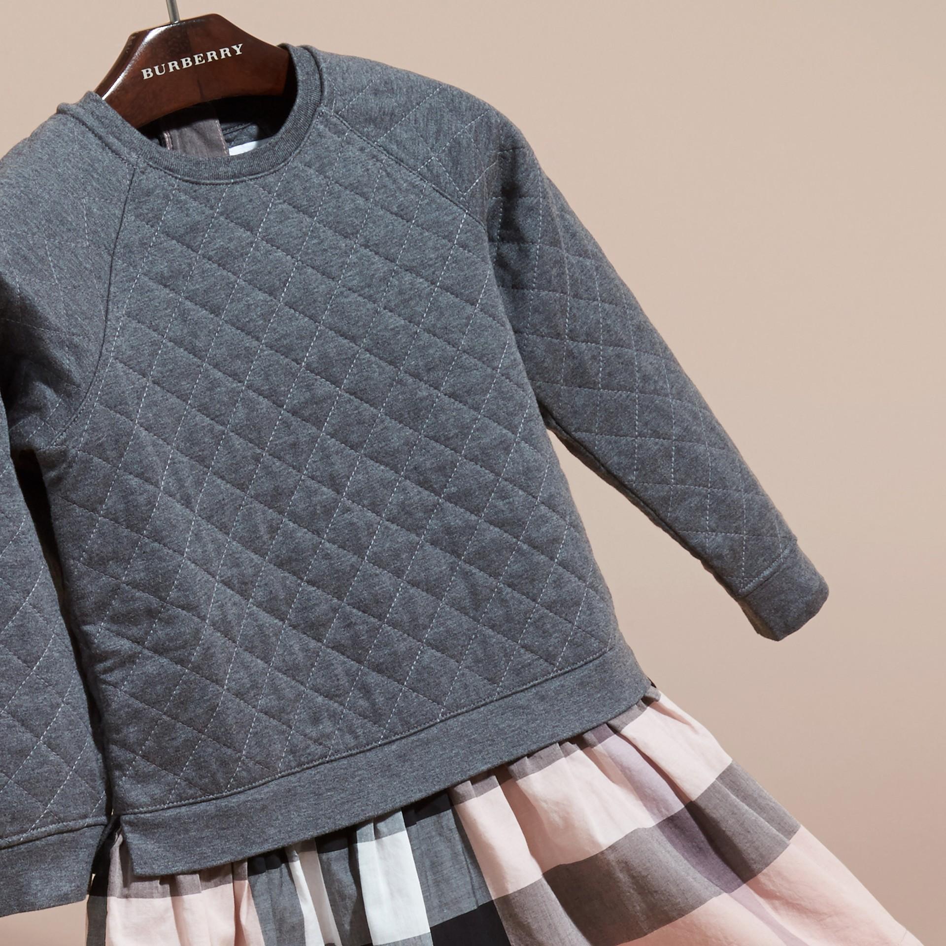 Dark grey melange Quilted Jersey and Check Cotton Day Dress Dark Grey Melange - gallery image 3