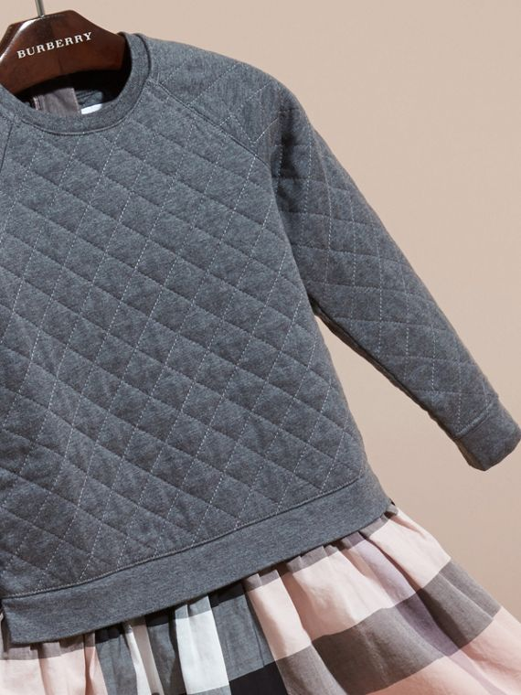 Dark grey melange Quilted Jersey and Check Cotton Day Dress Dark Grey Melange - cell image 2