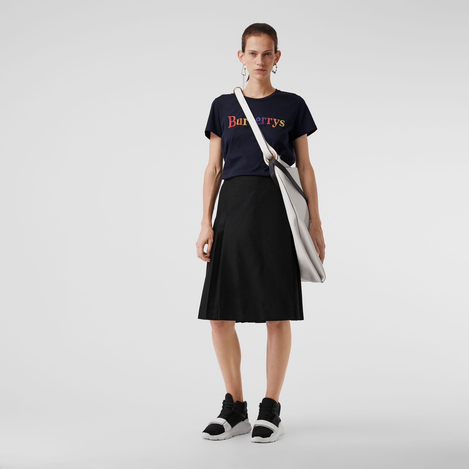 Archive Logo Cotton T-shirt in Navy - Women | Burberry - gallery image 0