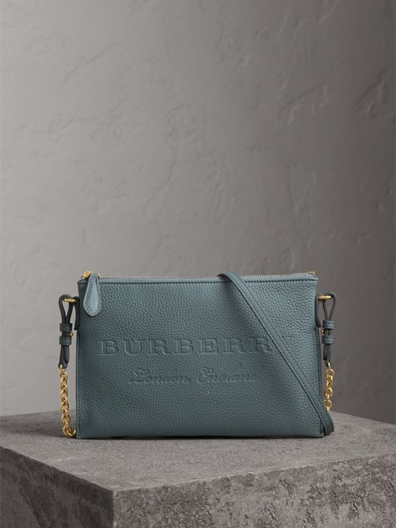 Embossed Leather Clutch Bag in Dusty Teal Blue