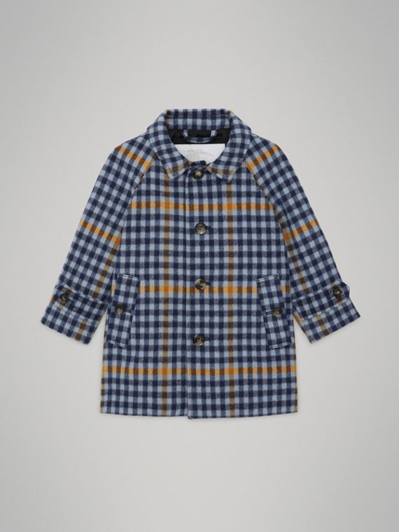 Car coat in lana con motivo tartan (Blu Tela)