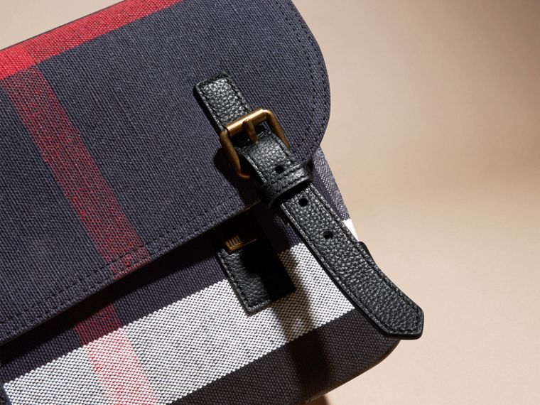 Small Canvas Check Messenger Bag in Black - Men | Burberry - cell image 1