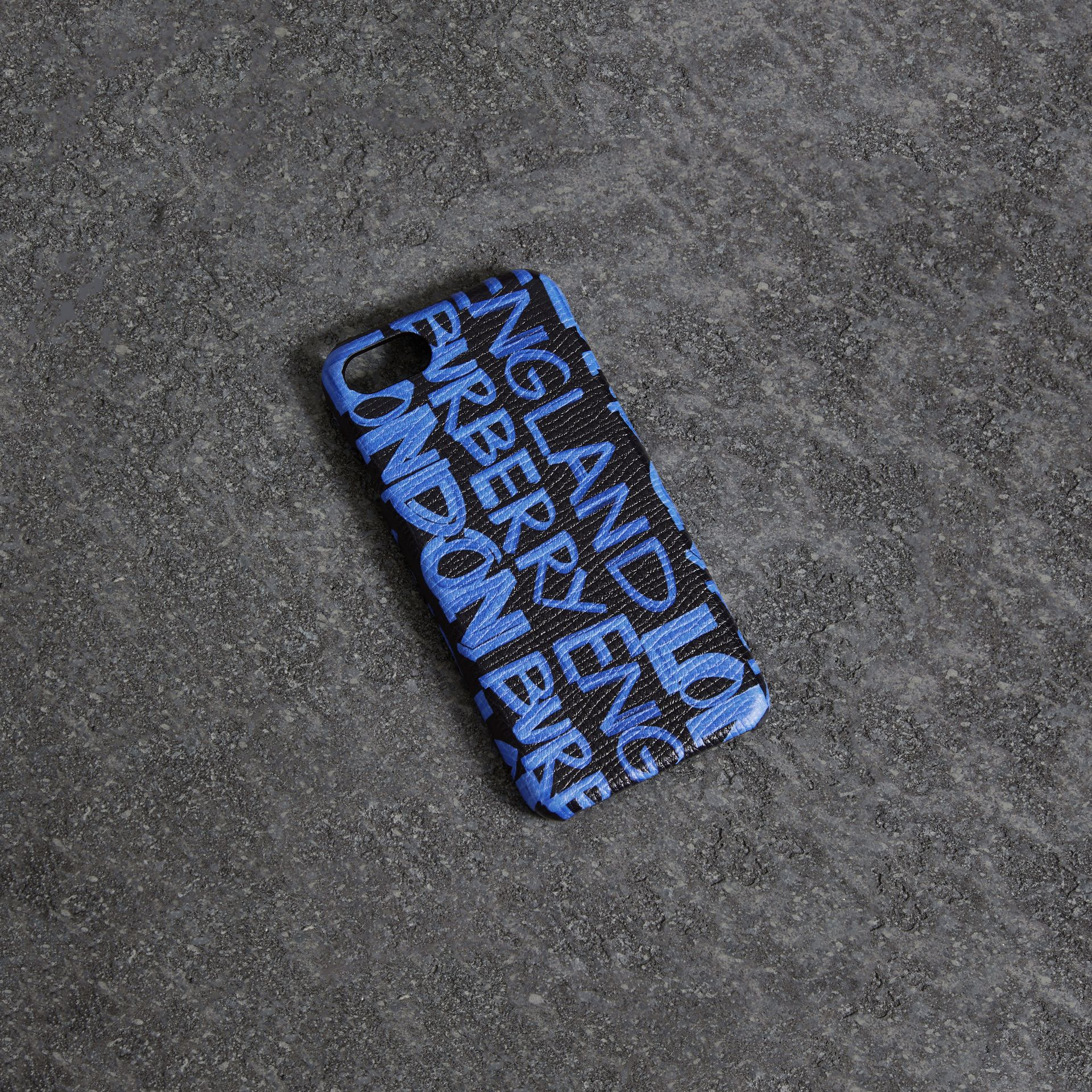 Graffiti Print Leather iPhone 8 Case in Blue Black | Burberry United Kingdom - gallery image 0