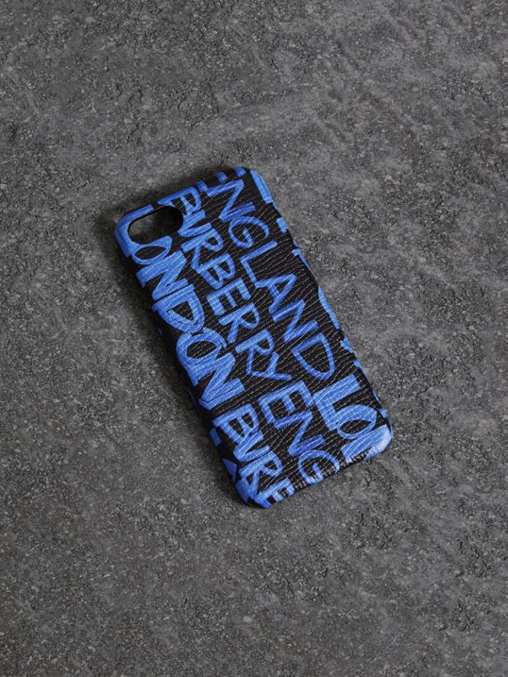 Graffiti Print Leather iPhone 8 Case in Blue Black