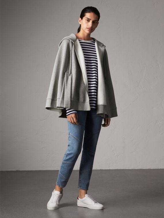 Jersey Hooded Cape in Pale Grey Melange