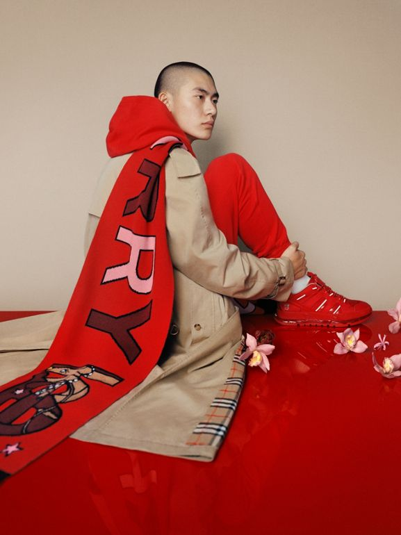 Logo and Monogram Motif Intarsia Cashmere Scarf in Bright Red | Burberry United Kingdom - cell image 1