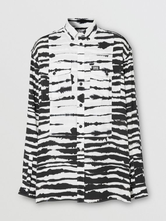 Contrast Bib Watercolour Print Twill Oversized Shirt in Monochrome