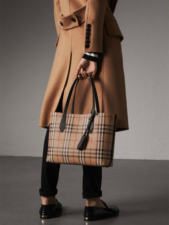 The Small Reversible Tote in Haymarket Check and Leather in Black - Women | Burberry - cell image 3