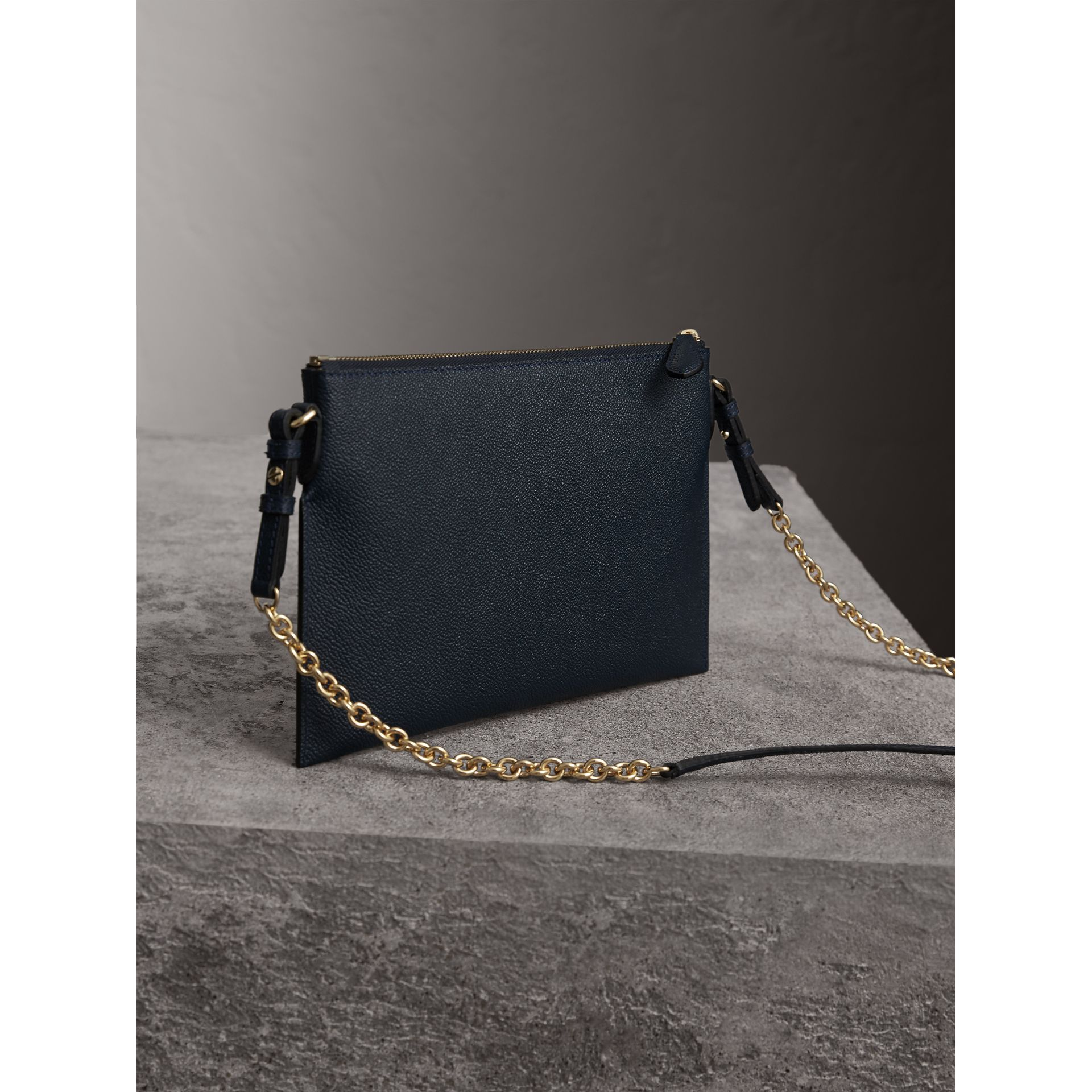 Leather Clutch Bag with Check Lining in Blue Carbon - Women | Burberry - gallery image 5