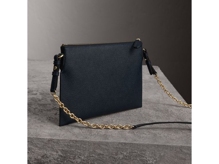 Leather Clutch Bag with Check Lining in Blue Carbon - Women | Burberry Canada - cell image 4