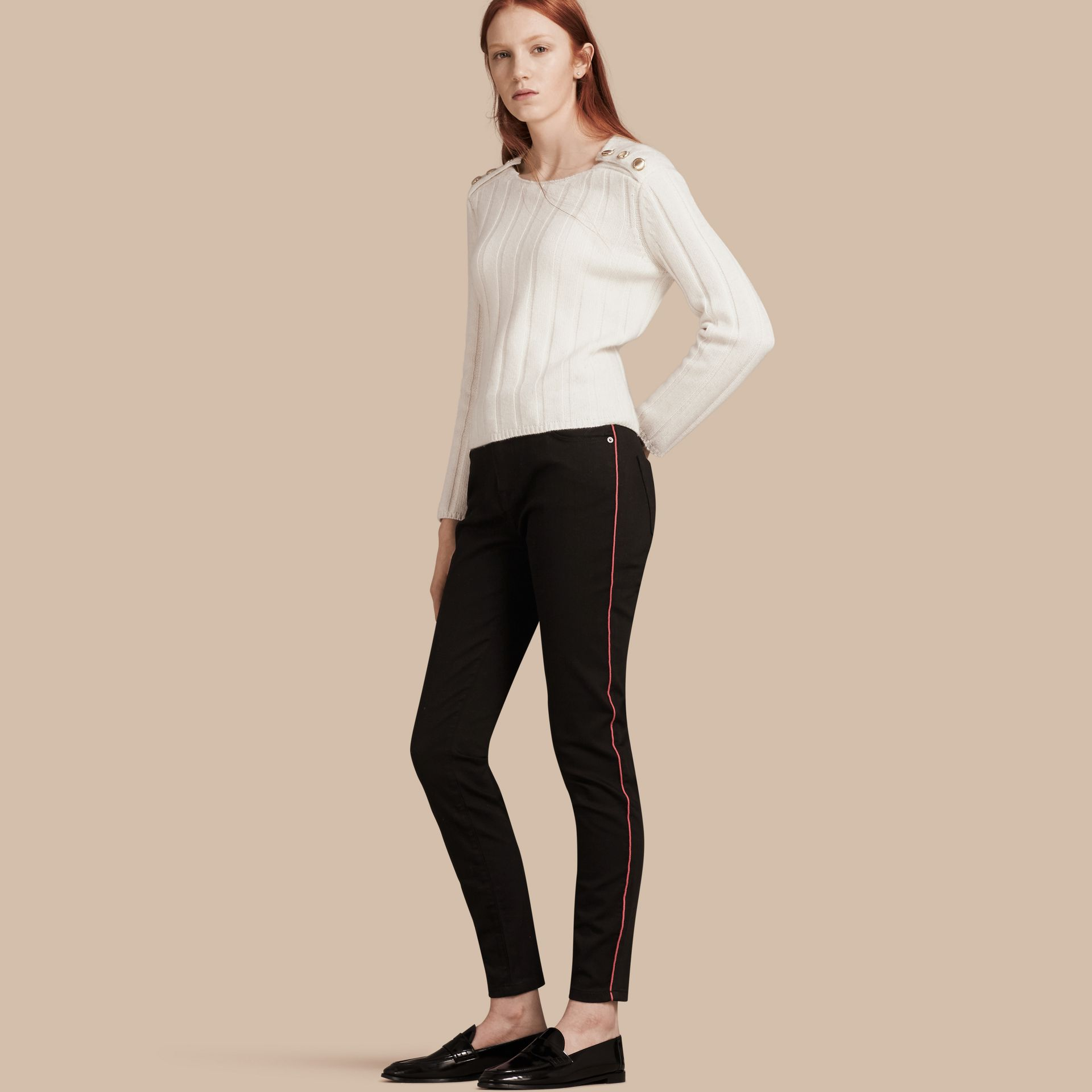 Skinny Fit Stretch Jeans with Piping Detail - gallery image 1
