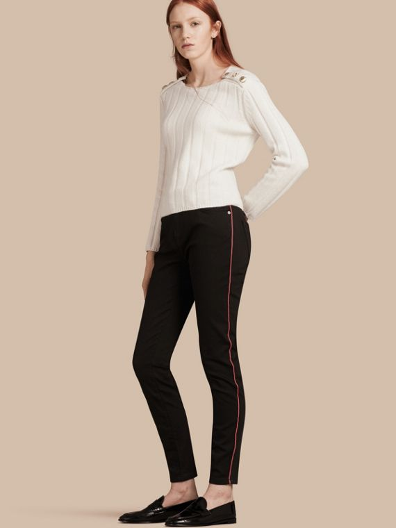Skinny Fit Stretch Jeans with Piping Detail