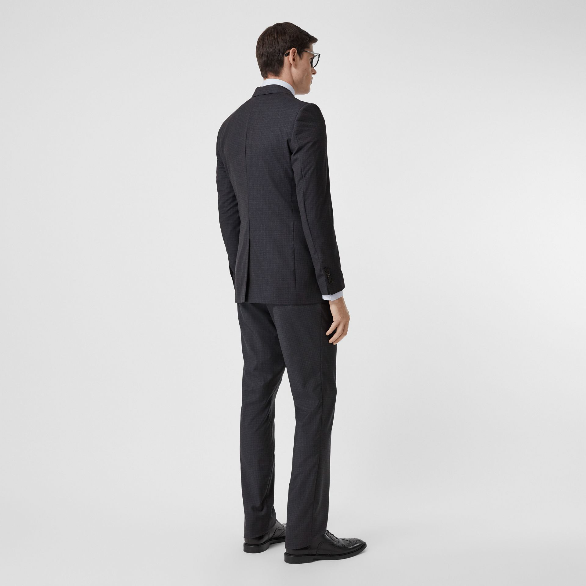 Classic Fit Check Wool Silk Three-piece Suit in Navy - Men | Burberry - gallery image 2