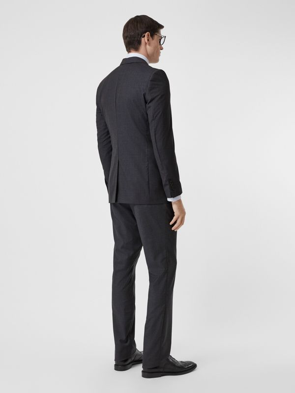 Classic Fit Check Wool Silk Three-piece Suit in Navy - Men | Burberry United Kingdom - cell image 2
