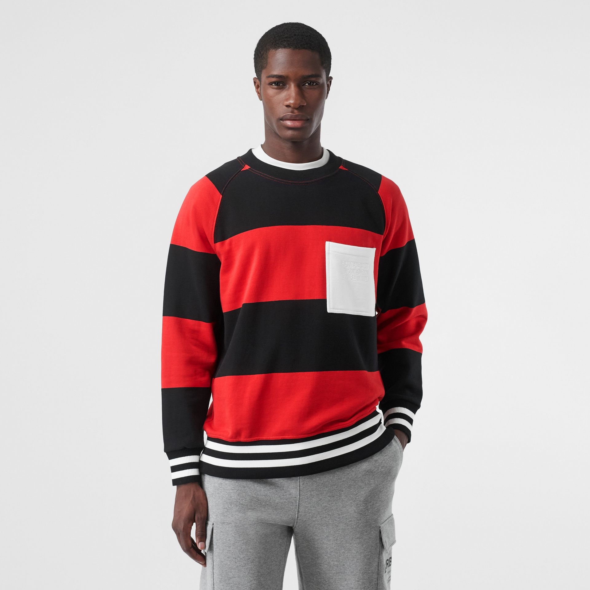 Rugby Stripe Cotton Sweatshirt in Bright Red - Men | Burberry - gallery image 0