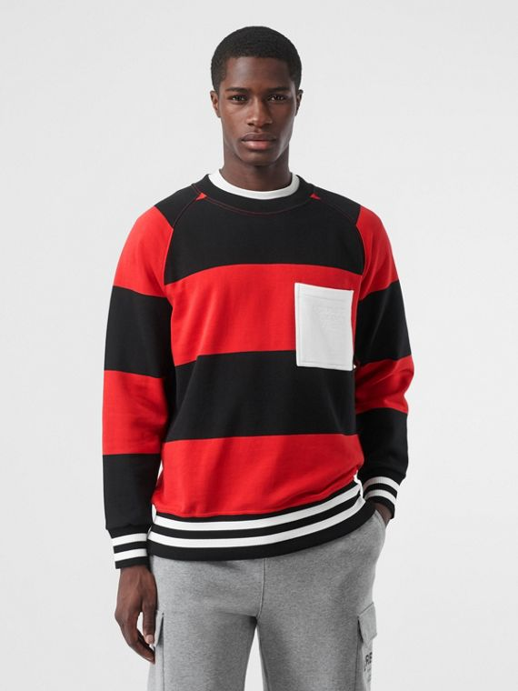 Rugby Stripe Cotton Sweatshirt in Bright Red