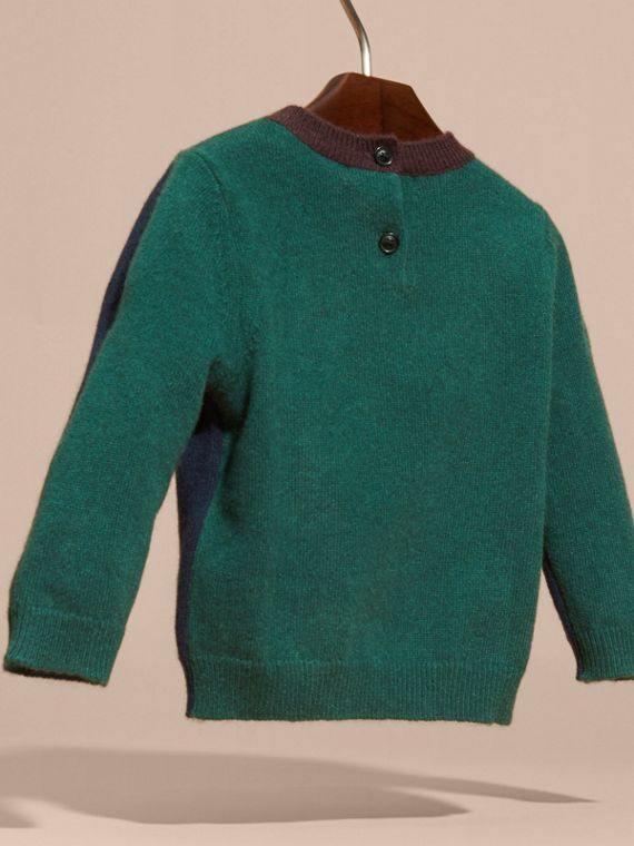Navy Colour Block Cashmere Sweater - cell image 3